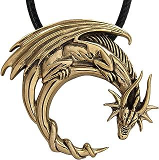 Bronze Crescent Moon Dragon Pendant Necklace