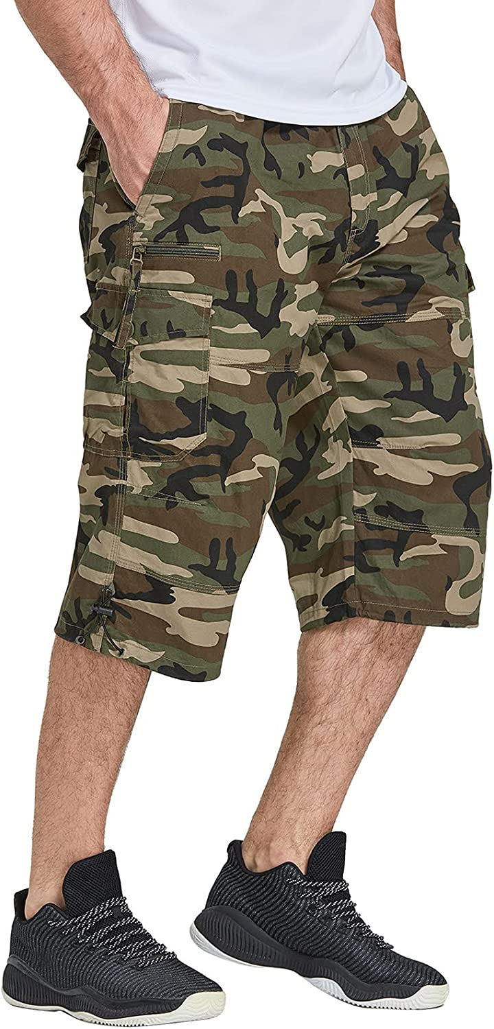 FEDTOSING Men's 3 4 Long Max 76% OFF Cargo Fit Waist Shorts Elastic Be Now on sale Loose