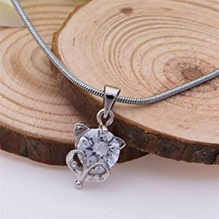 New Mouse Pendant 18k White Gold Plated Crystal Mice Necklace Chain Silver Charm