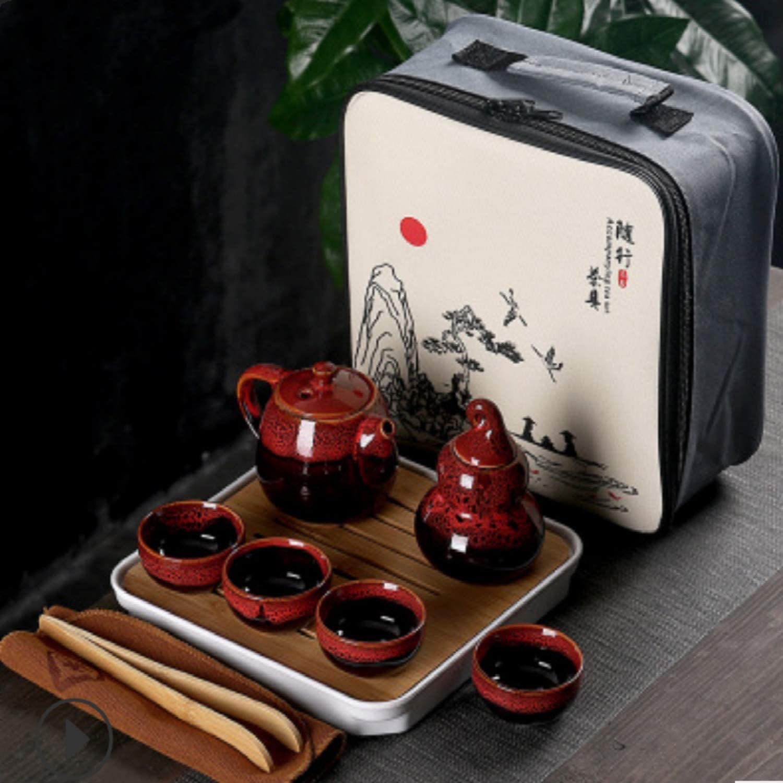 Ceramic Kungfu Tea Set Large special price Portable Teapot Nippon regular agency with Teacu Travel