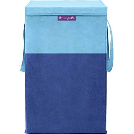 PrettyKrafts Folding Laundry Basket for Clothes with Lid & Handle, Toys Organiser, 75 Litre, Blue
