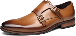 Mens Double Monk Strap Oxford Buckle Slip-on Loafer Comfortable Classic Formal Business Dress