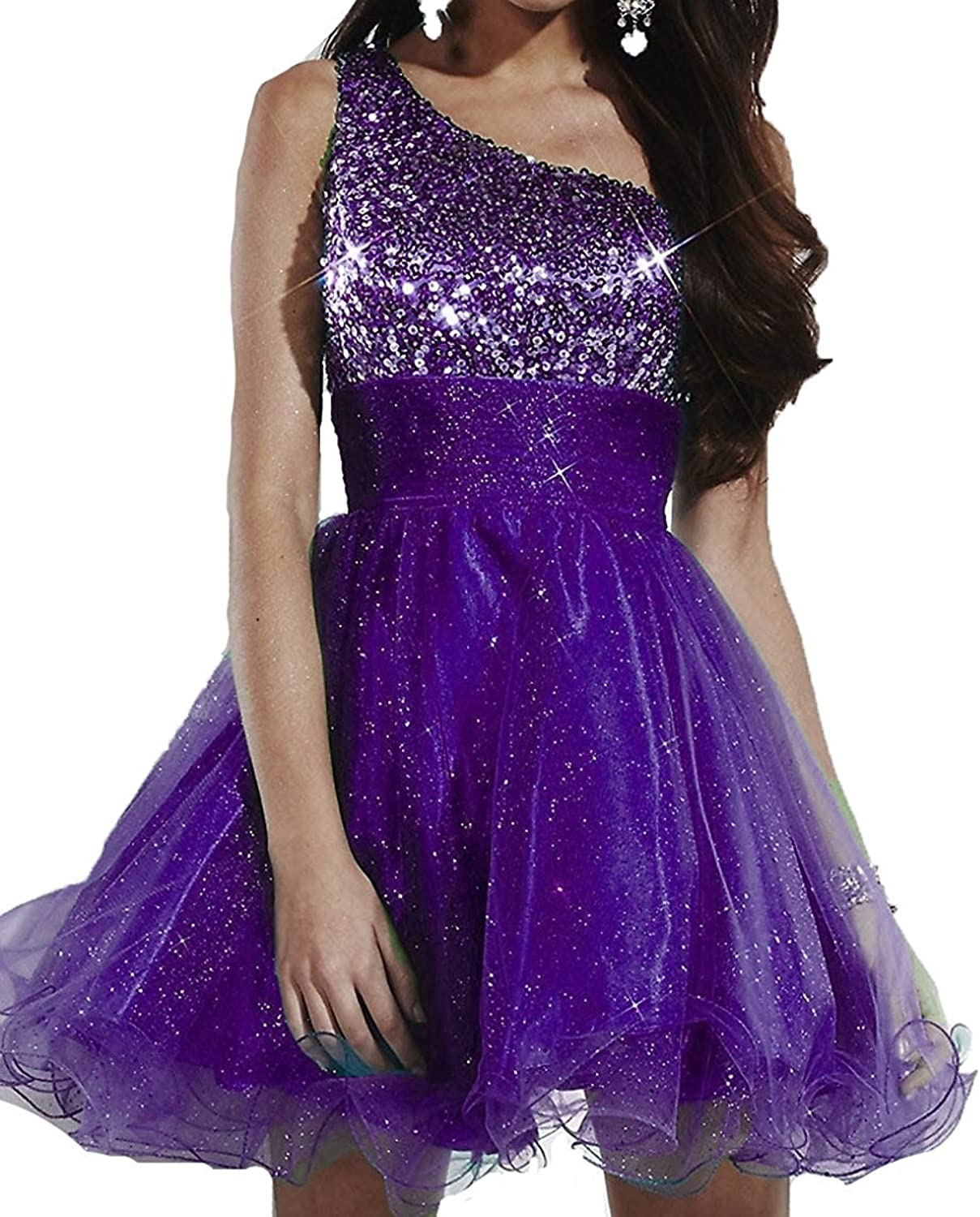 Fashionbride Women's Sequins Tulle Sparkle Homecoming Dresses 2017 Mini Prom Gowns F527