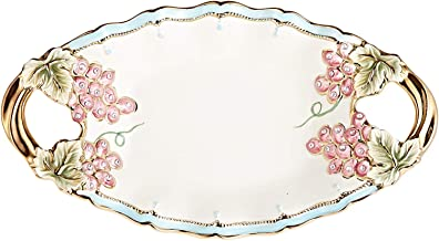 Almarjan Ceramic Oval Sweet Tray Oval 9324B-16-16 Inches (Multi Color)