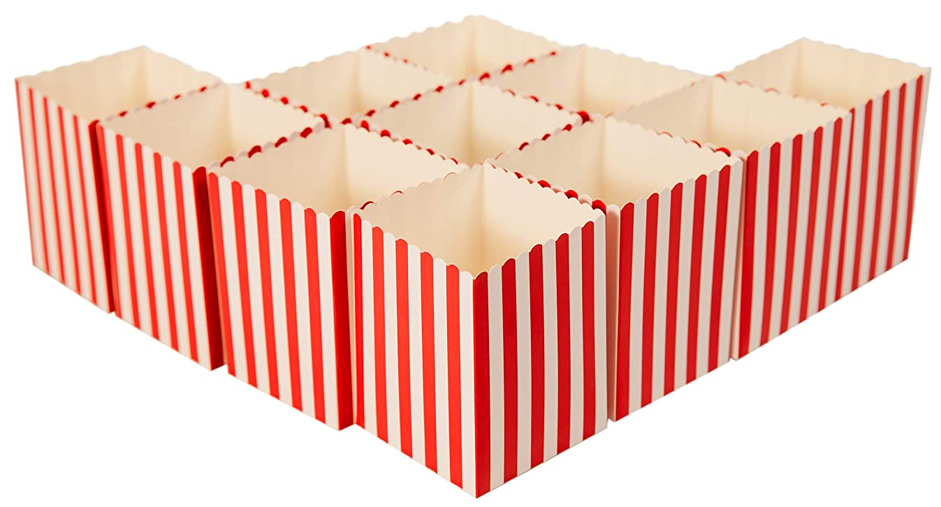 Mini Movie Popcorn Boxes - 100 Piece Red and White Mini Paper Popcorn Containers, Movie Night Party Supplies for Kids, Movie-Themed Parties, Carnival Parties, Pirate Party 3 x 3 x 4 Inches (100 Pack)