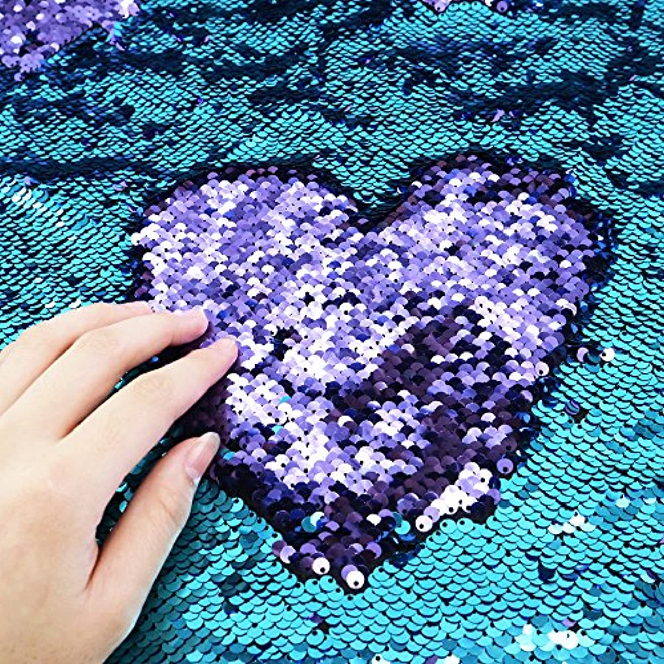 Sequins Sewing Fabric Mermaid Flip Up Sequin Reversible Sparkly Fabric 1 Yard (36'' x 47'') for Dress Clothing Making Home Decor (Blue & Light Purple)