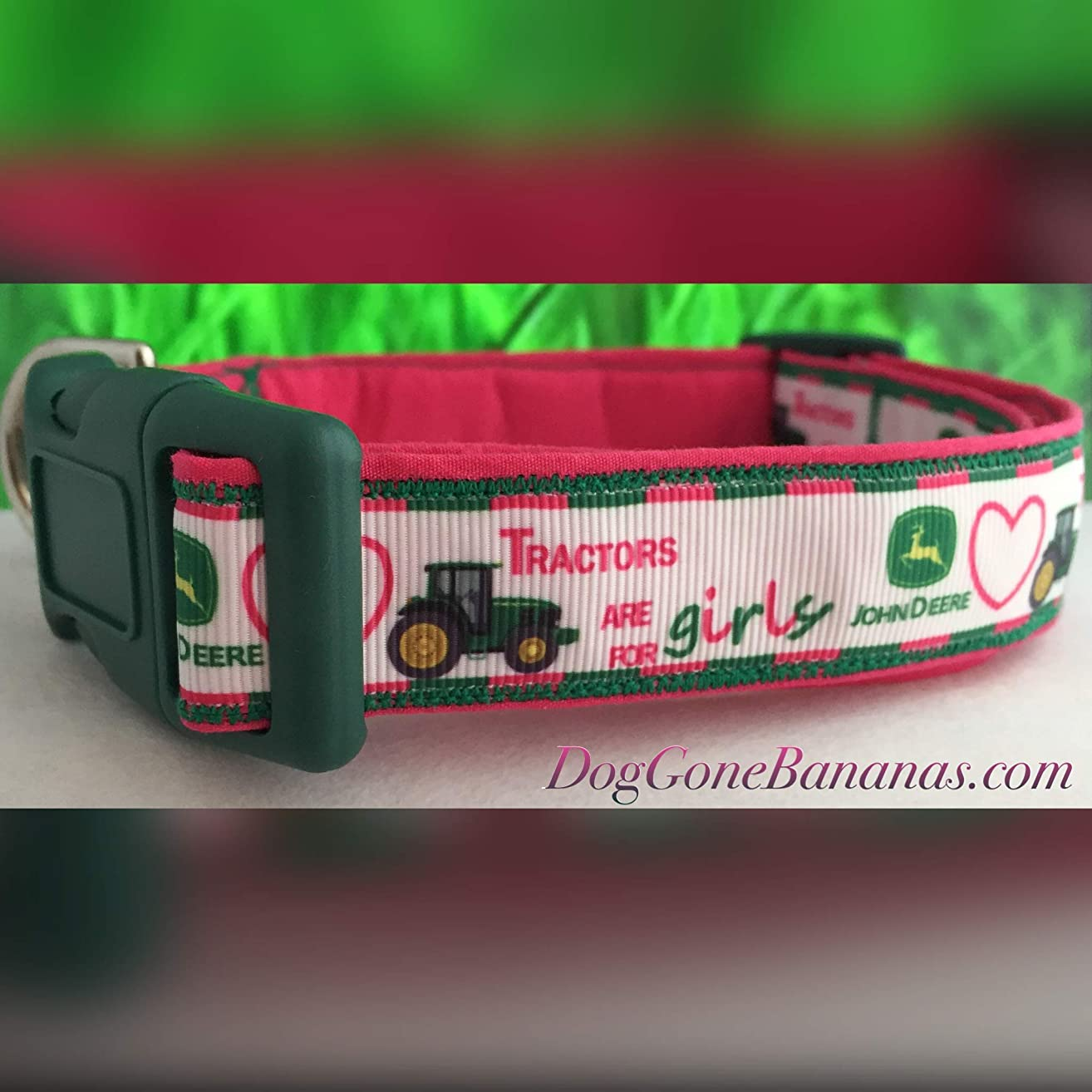 'Tractors are for Girls' Pink and Green Dog Collar with Leash Option