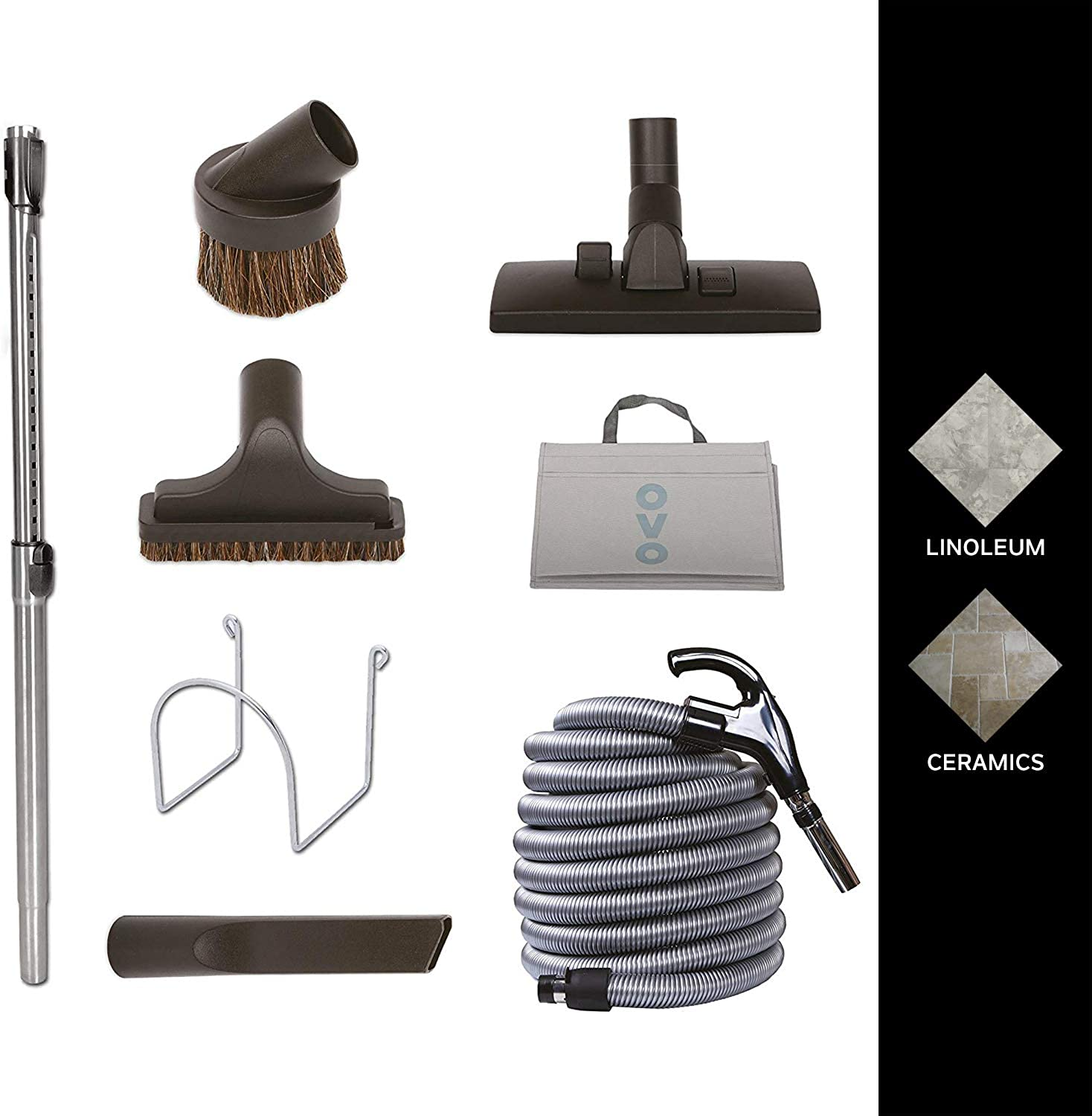Nadair KIT-30G-OVO Garage Vacuum Accessories Kit - Set Includes 30ft Central Vac Hose With Combo Brush & 3 Hose Attachments - Dusting Brush - Upholstery Brush - Crevisse Brush, Black & White