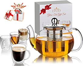 LVOD Glass Tea Set for Adults, 35oz Tea Pot Set with Infuser & 8.5oz 4 Tea Cups like Coffee Mugs, Stove Top Safe Tea Kettle, Blooming and Loose Leaf Tea Maker & Tea Recipe Pdf Book as Gift