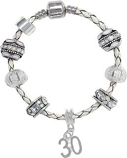 Truly Charming Happy Birthday Leather Charm Bracelet Pandora Style Gift Boxed