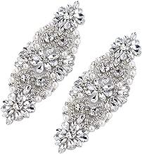 FANGZHIDI 2 Pieces Crystal Rhinestone Applique with Pearls for Bridal Belt Wedding Dress Garters Headpieces