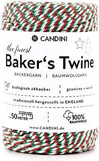 Candini Bäckergarn Rot Weiß Grün | 50m | weiches Bastelgarn aus Baumwolle - Premium Qualität aus England - Bakers Twine - Weihnachten, Bastelschnur, Baumwollschnur, Geschenkband