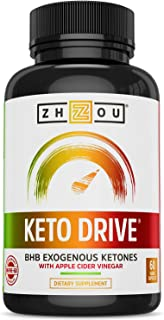 Zhou Nutrition Keto Drive Capsules, Ketosis Supplement With Bhb Exogenous Ketones - 500 Mg Bhb, Ketone Supplements for Ket...