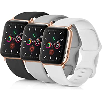Pack 3 Compatible with Apple Watch Band 38mm, Soft Silicone Band Compatible iWatch Series 4, Series 3, Series 2, Series 1 (Black/Gray/White, 38mm/40mm-S/M)