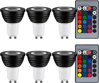 TORCHSTAR 3W Multi-Color GU10 LED Bulb, Dimmable RGB Floodlight Kit, 2 Remote Controllers, Color Changing Reflector, LED Mood Light Bulb, for General, Decorative, Accent Lighting, Black, Pack of 6