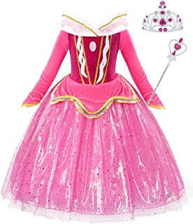 Princess Sofia Costume for Girls Belle Aurora Dress Fancy Birthday Party Dress up Cosplay Outfit 1-12 Years