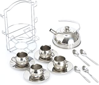 Timy Play Tea Party Set 14pcs for Girls, BPA Free Stainless Steel Teapot Pretend Kitchen Toys