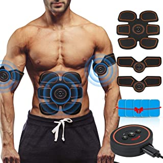 ROKOO Abs Stimulator Ultimate Muscle Toner with 10 Extra Gel Pads, EMS Abdominal Toning Belt for Men and Women, Arm and Leg Trainer, Office, Home Gym Fitness Equipment