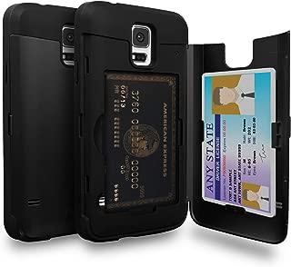 TORU CX PRO Galaxy S5 Wallet Case Black with Hidden Credit Card Holder ID Slot Hard Cover & Mirror for Samsung Galaxy S5/Galaxy S5 Neo - Matte Black