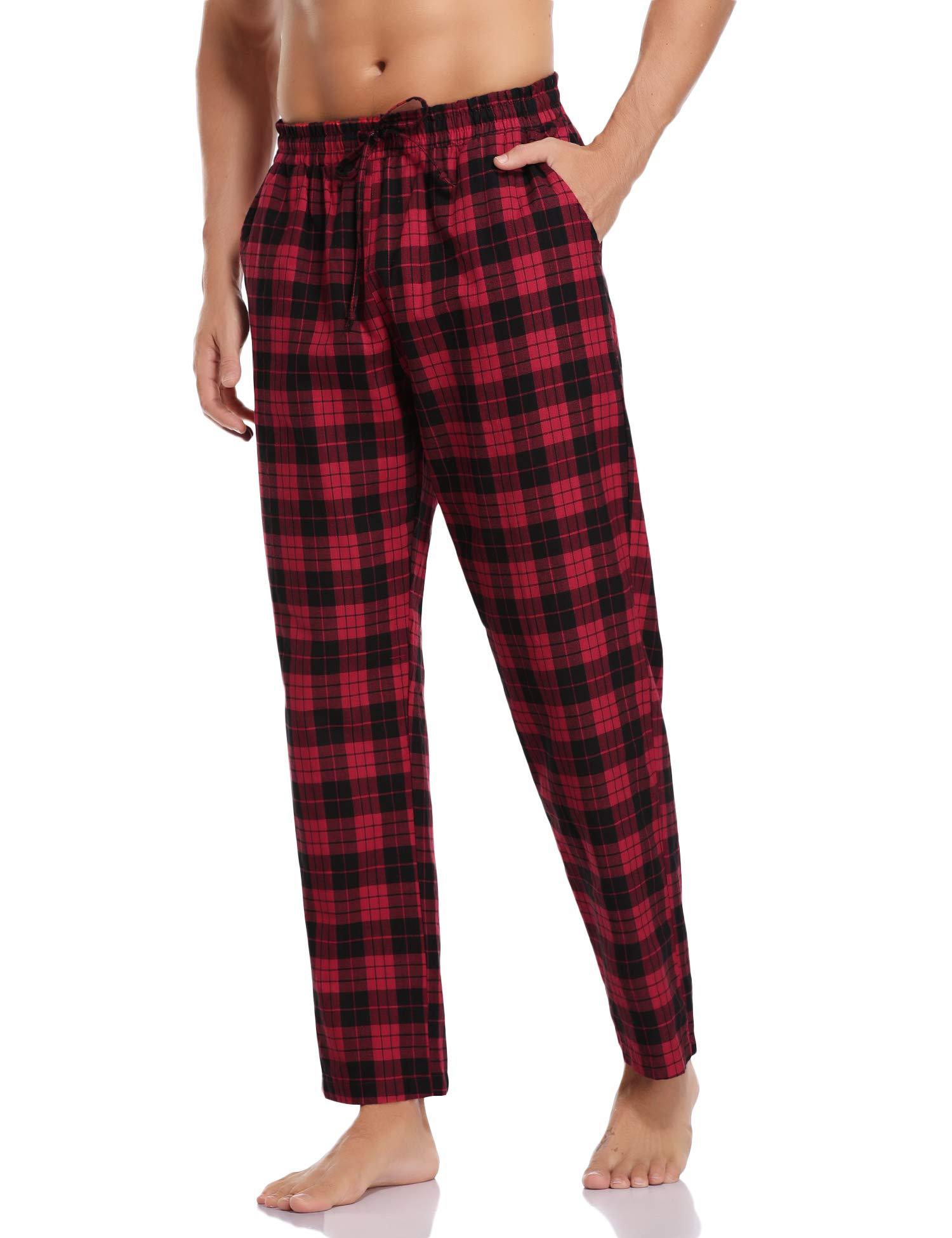 Pantalon de Pyjama Homme, Pantalon à Carreaux 95% Coton pour Hommes Pantalon Décontracté