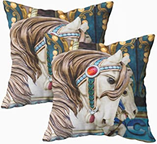 Capsceoll Soft Pillow Covers, Horse Closeup Carousel Ride 18x18 Pillow Covers,Home Decoration Pillow Cases Zippered Covers Cushion for Sofa Couch