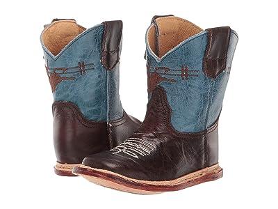 Roper Kids Cowbaby Bullrider (Infant/Toddler) (Dark Brown Vamp/Blue Leather Shaft) Boys Shoes