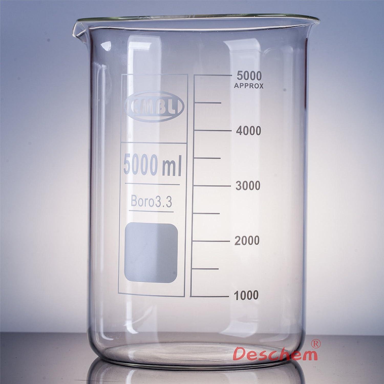 Deschem 5000mL Glass Beaker 5L Low Borosilicate Laboratory Las Vegas Mall Form Max 64% OFF