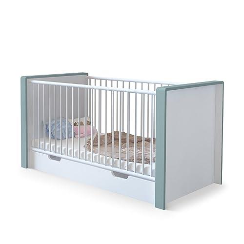 Babybett Gitterbett Kinderbett Juniorbett umbaubar Nandini mit Bettkasten, Korpus in Weiß matt, Blenden in Jade matt