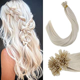 Nail Tips Fusion Pre Bonded Italian Keratin U tips Human Hair Extensions European Salon Style Hair Extensions in Platinum Blonde(#60) 16inch 1g/strand 50g/pack