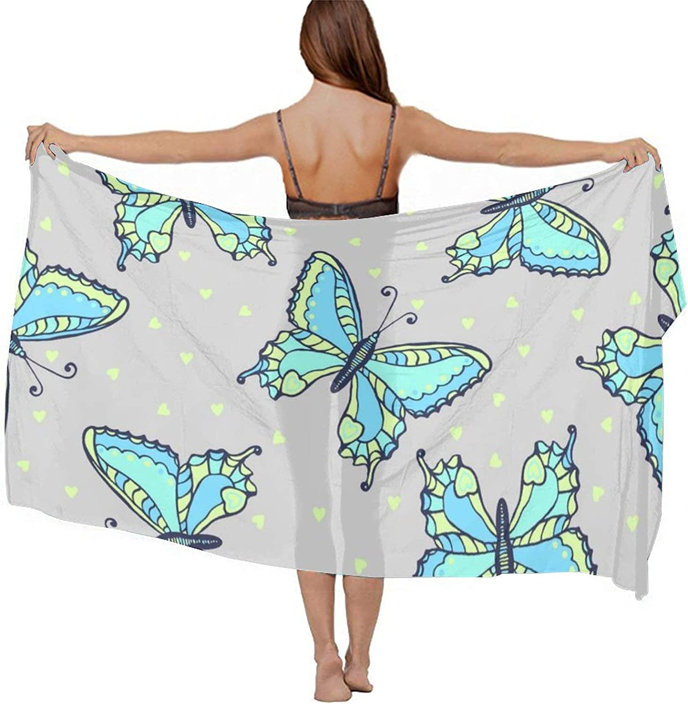 Women's Chiffon Blue Butterflies Beach Scarf Smooth Sunscreen Wrap Shawl Scarves Bikini Cover-Up Wrap Scarf Swimsuit Sarongs Summer Beach Cover Ups