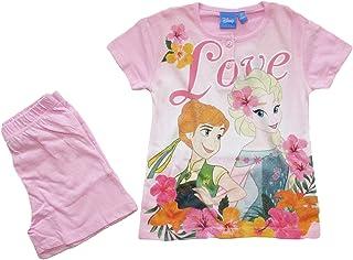 d888951950 Disney Pigiama Bambina Estivo Anna e Elsa Frozen, a Maniche Corte in Cotone  - 46322