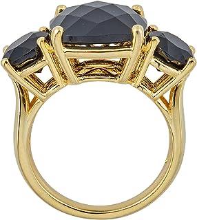 خاتم نسائي مرصع بوسادة دائرية من الفضة الإسترليني مطلي بالذهب الأصفر | خواتم للنساء