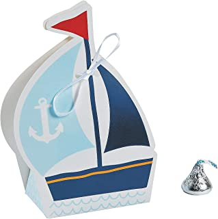 Fun Express Nautical Sailor Sailboat Party Favor Boxes - 12 ct