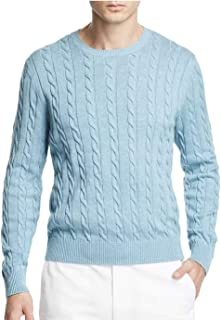 Men's Cable Knit Crewneck Pullover Supima Cotton Sweater