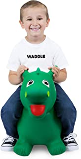 WADDLE Dragon Pet Toys Ride On Kids Bouncy Ball Animal Green Inflatable Jumping Boys Toy Unisex Toddler Hopping Bouncy Interactive Space Hopper Blow Up Bouncer