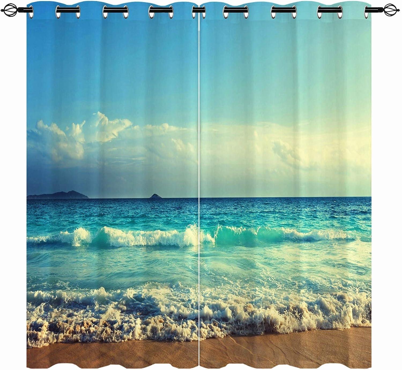 ANHOPE Beach Atlanta Mall Blackout High material Curtains Tropical B Summer Hawaiian Ocean