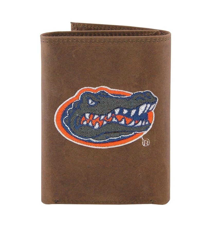 立法別に偶然のNCAA Florida Gators zep-proクレイジーホースレザー三つ折り刺繍財布、ライトブラウン
