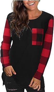 Xmiral Blouse vrouwen lange mouw kleur blok tops ronde hals geruite shirts
