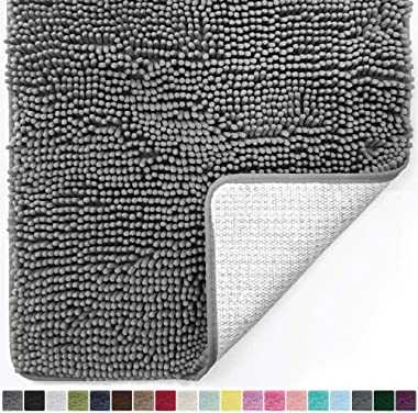 Gorilla Grip Original Luxury Chenille Bathroom Rug Mat, 36x24, Extra Soft and Absorbent Shaggy Rugs, Machine Wash and Dry, Pe