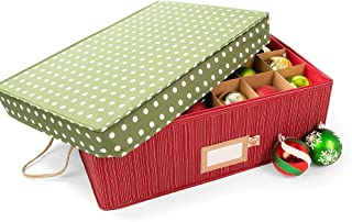 Santa's Bags [Christmas Ornament Storage Box with Dividers] - (Holds 48 Ornaments up to 3 Inches in Diameter) | Acid-Free Removable Trays with Separators | 2 Removable Trays - (Polka Dot)