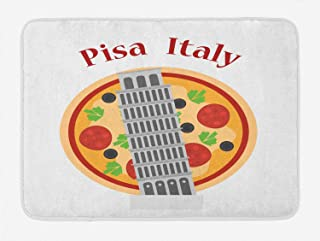 Ambesonne Italy Bath Mat, Cartoon Style Drawing Sketch of Leaning Tower of Pisa on Pizza Artwork, Plush Bathroom Decor Mat with Non Slip Backing, 29.5