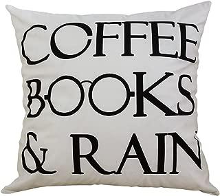BLEUM CADE Coffee Books and Rain Motivational Inspirational Home Decorative Throw Pillow Case Cushion Cover 18