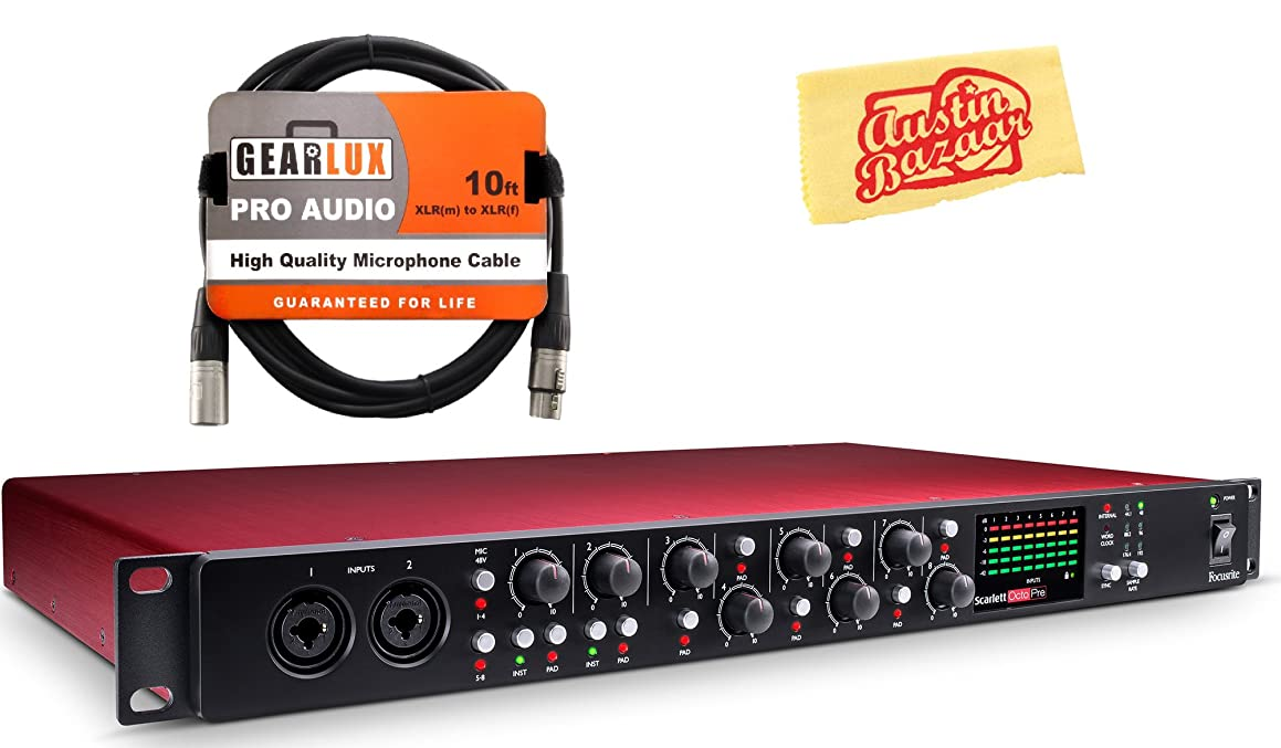 Focusrite Scarlett OctoPre Microphone Preamp Bundle with XLR Cable and Austin Bazaar Polishing Cloth