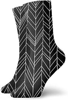 Featherland BlackWhiteファッショナブルでカラフルなファンキー柄コットンドレスソックス11.8インチ