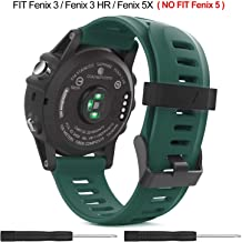 Easyjoy Garmin Fenix 3/Fenix 5X Watch Band,Soft Silicone Replacement Watch Band Compatible with Garmin Fenix 3/Fenix 3 HR/Fenix 5X/5X Plus Watch (Green, M-L)