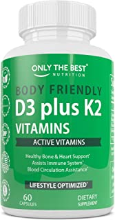 Only The Best Vitamin K2 (MK7) + D3 Supplement for Immune Support, Healthy Muscle Function, Bone, and Heart Health, Non-GM...
