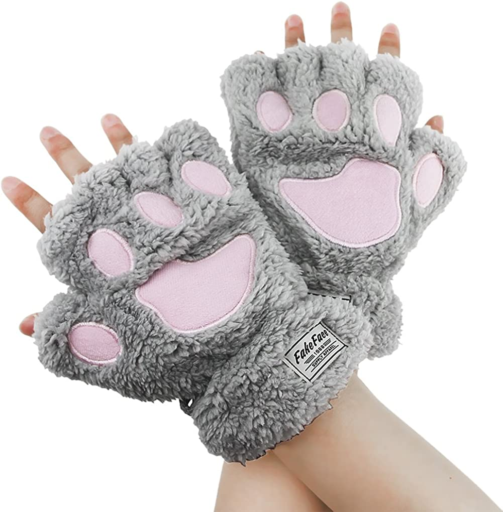 Womens Girls Cat Paw Claw Gloves Winter Warm Plush Faux Fur Fingerless Mittens