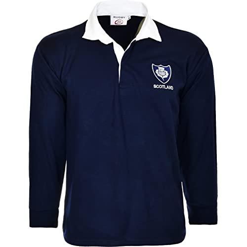 b6609f82127 Activewear Scotland Rugby Shirt Long Sleeved Jersey with Collars Classic  Retro Top 6 Nations Size S