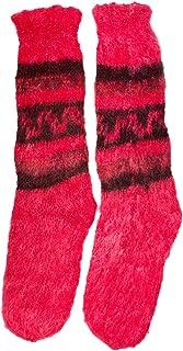 Alpaca Premium - Calcetines de Invierno - Rosa con diseño andino