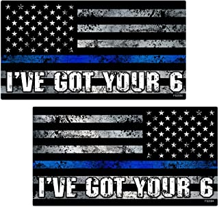 AZ House of Graphics Thin Blue Line I'VE GOT YOUR 6 MIRRORED Flag Stickers 2 Pack